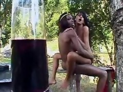 Two dirty trannies fuck outdoors