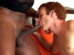 Amateur redhead guy getting milky facial