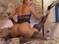 Two lustful shemales in crazy orgy