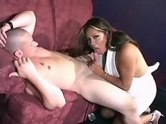 Exotic shemale sucks big white cock