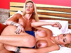 Beautiful blonde trannies trashing hard in the bedroom