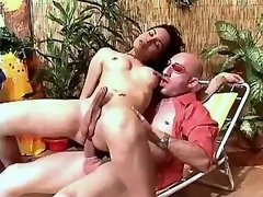 Guy fucks cute shemale and gets cum