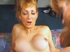 Aged blonde shemale fucks sexy babe