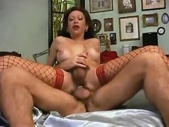 Tranny in red lingerie get hot jizz