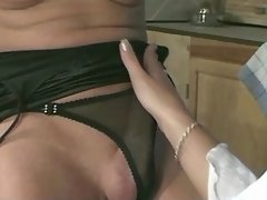 Sexy shemale fucks cutie on kitchen