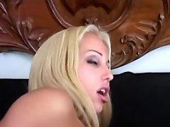 Horny blonde shemale jizzing on guy