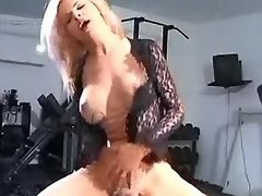 Blonde shemale jumps on cock in gym