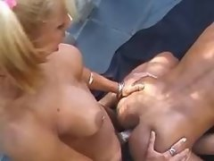 Guy assfucked by slim blond shemale