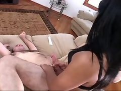 Freak cums when pounded by shemale