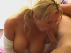 Blond man sucks cock of hot shemale