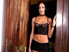 Sexy brunette shemale throats cock