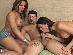 Two Tgirls with gorgeous bodies get banged by a lucky stud
